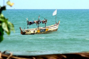 Traditionele vissersboot in Ghana